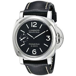 Panerai Men's PAM00510 'Luminor Marina 1950 Acciaio' 8 Days Hand Wind Black Leather Watch