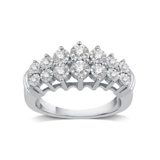 1/4 CTTW Genuine Diamond Anniversary Ring in Sterling Silver (I-J, I2) - White I-J