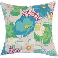 Urijah Floral 24 x 24  Feather Throw Pillow Turquoise
