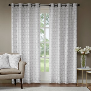 Madison Park Callista Metallic Faux Silk Window Curtain Panel