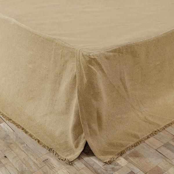 Burlap Natural Fringed Bed Skirt