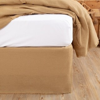 Burlap Natural Fringed Bed Skirt