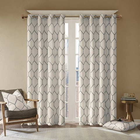 Madison Park Asher Metallic Geo Embroidered Window Curtain Panel