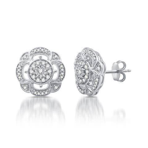 3/8 CTTW Diamond Earrings in Sterling Silver (I-J, I2-I3)