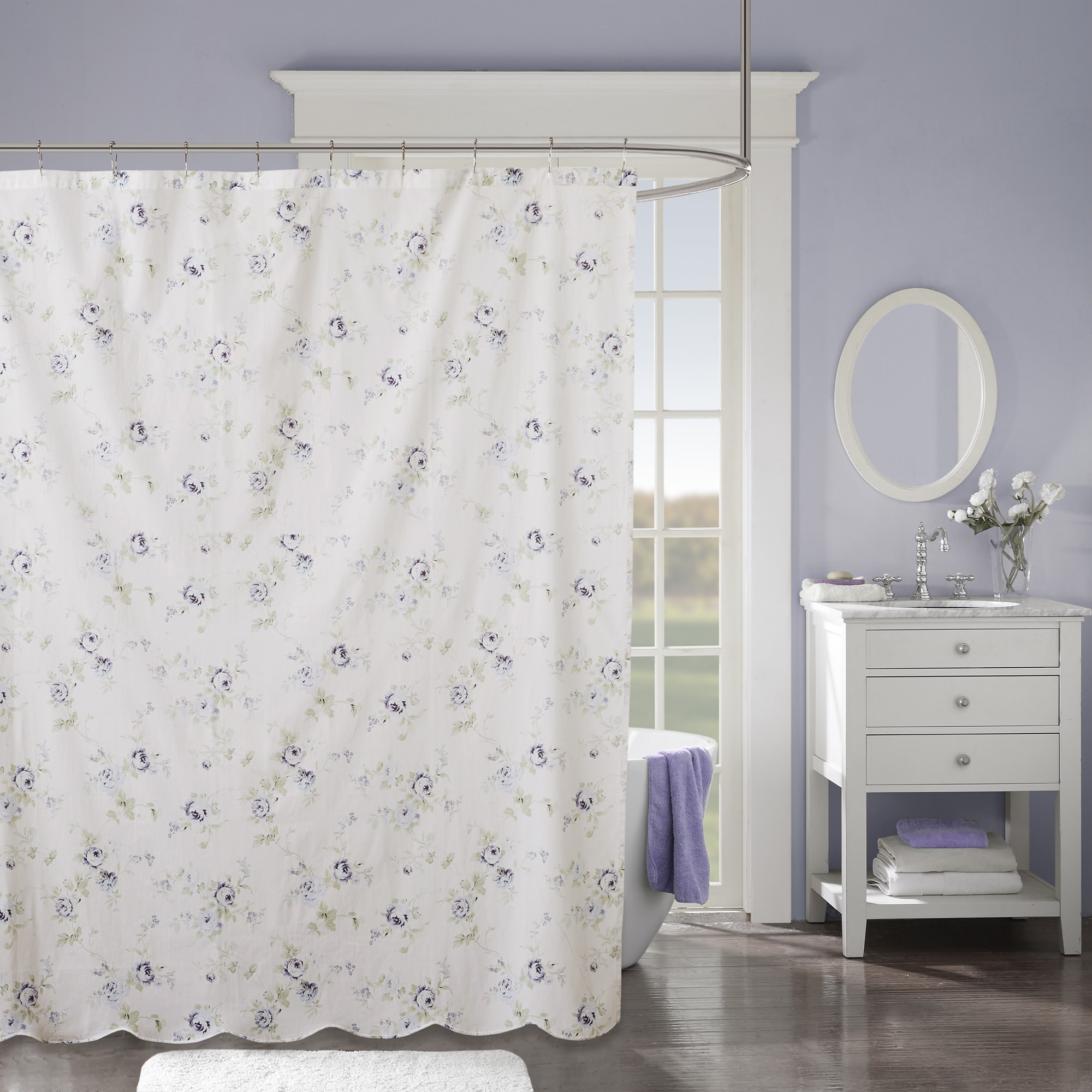 Madison Park Paolina Ivory Cotton Scalloped Shower Curtain