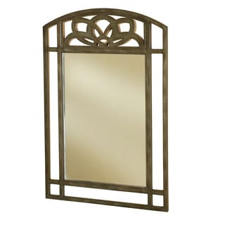 Hillsdale Furniture Marsala Grey With Brown Rub Frame and Glass Console Mirror