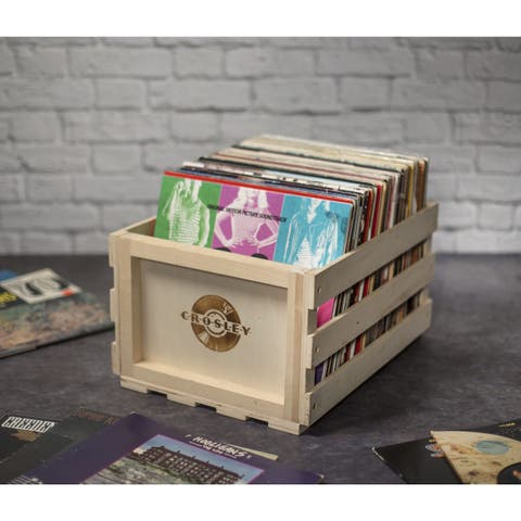 Wood Record Storage Crate- Natural