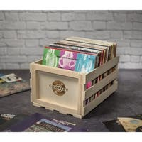Wood Record Storage Crate- Natural