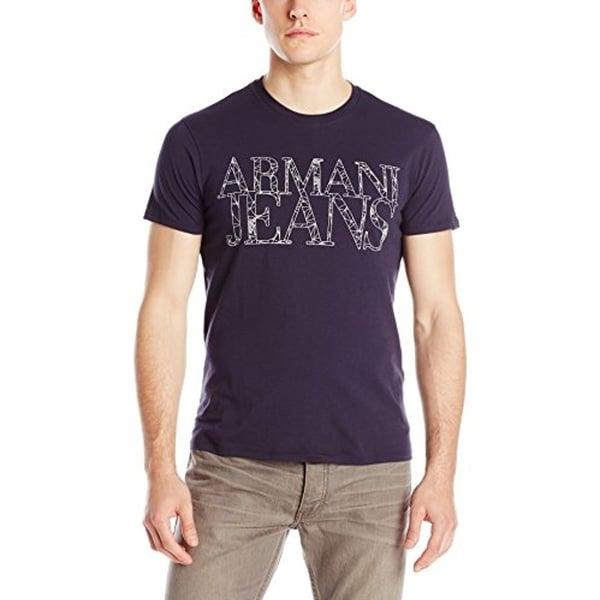 310d6451 Shop Armani Jeans Navy Web Print Logo T-shirt - Free Shipping Today ...