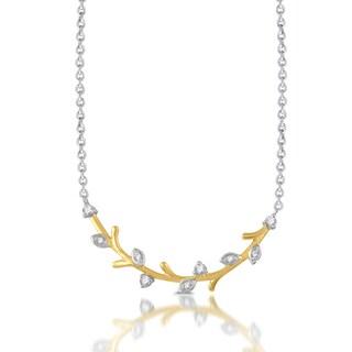 1/10 CTTW Golden Leaf Necklace in Sterling Silver with Gold Plating (I-J, I2-I3)