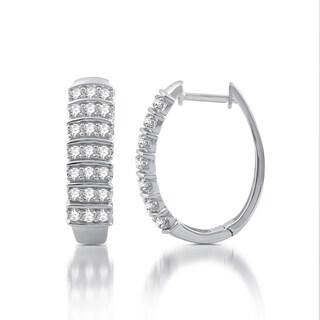 1 CTTW Diamond Fashion Hoop Earrings in Sterling Silver (I-J, I2)