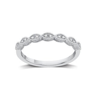 Diamond Accent Stackable Rings in White and Yellow Sterling Silver (H-I, I2-I3) - White I-J