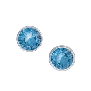 Handmade Sterling Silver Blue Topaz Post Earrings (Mexico)