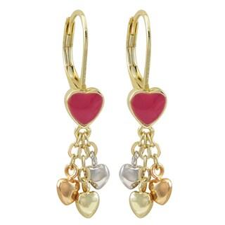 Luxiro Tri-color Gold Finish Enamel Heart Children's Dangle Earrings