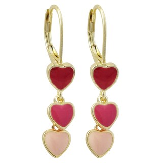 Luxiro Gold Finish Enamel Heart Children's Dangle Earrings - Pink