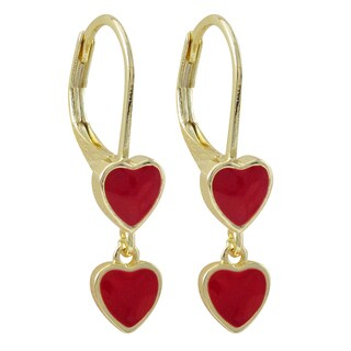 Luxiro Gold Finish Enamel Heart Children's Dangle Earrings