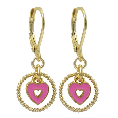 Luxiro Gold Finish Enamel Heart Children's Dangle Earrings
