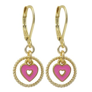 Link to Luxiro Gold Finish Enamel Heart Children's Dangle Earrings Similar Items in Children's Jewelry