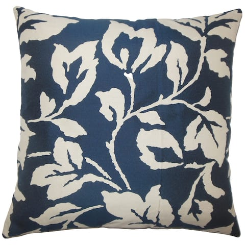 Solana Floral 24-inch Down Feather Throw Pillow Lapis