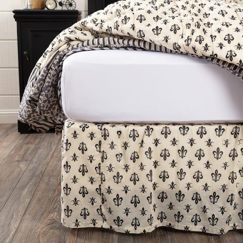 White Farmhouse Bedding VHC Elysee Bed Skirt Cotton Fleur-De-Lis Gathered