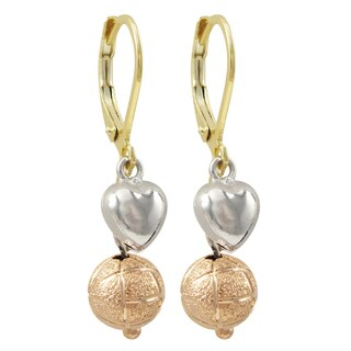 Luxiro Tri-color Gold Finish Etched Ball and Heart Children's Dangle Earrings
