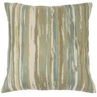 Uchenna Stripes 24 x 24  Feather Throw Pillow Sage