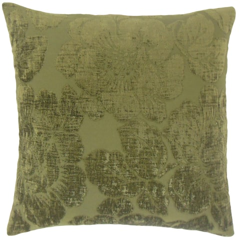 Cenobia Floral 24-inch Feather Throw Pillow Jade