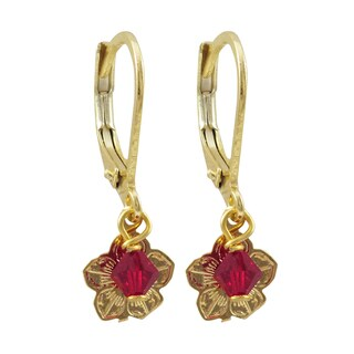 Luxiro Gold Finish Red Crystal Bead Flower Children's Dangle Earrings