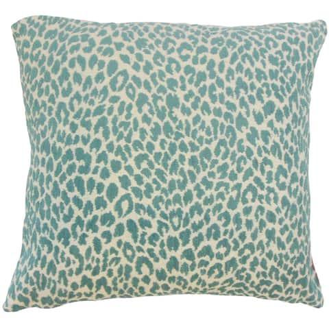Pesach Animal Print 24 x 24 Feather Throw Pillow Teal