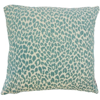 Pesach Animal Print 24 x 24  Feather Throw Pillow Teal
