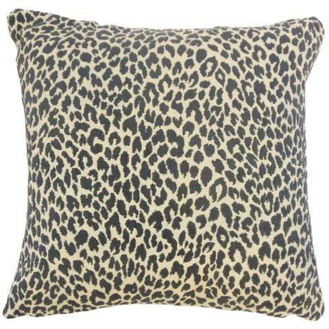 Pesach Animal Print 24-inch Feather Throw Pillow Onyx