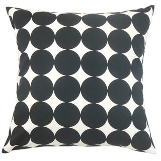 Zooey Dot 24-inch Down Feather Throw Pillow Black