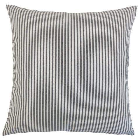 Ira Stripes 24-inch Feather Throw Pillow Black