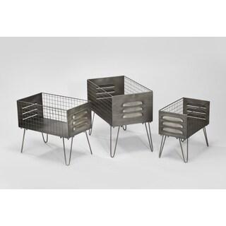 Grey Metal 3-piece Crate Stand Set