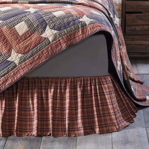 Red Rustic Bedding VHC Parker Bed Skirt Cotton Plaid Gathered