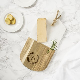 Personalized Marble & Acacia Serving Board