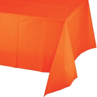 Touch of Color Tablecovers Plastic 54 inch x 108 inch Sunkissed Orange ,Case of 12