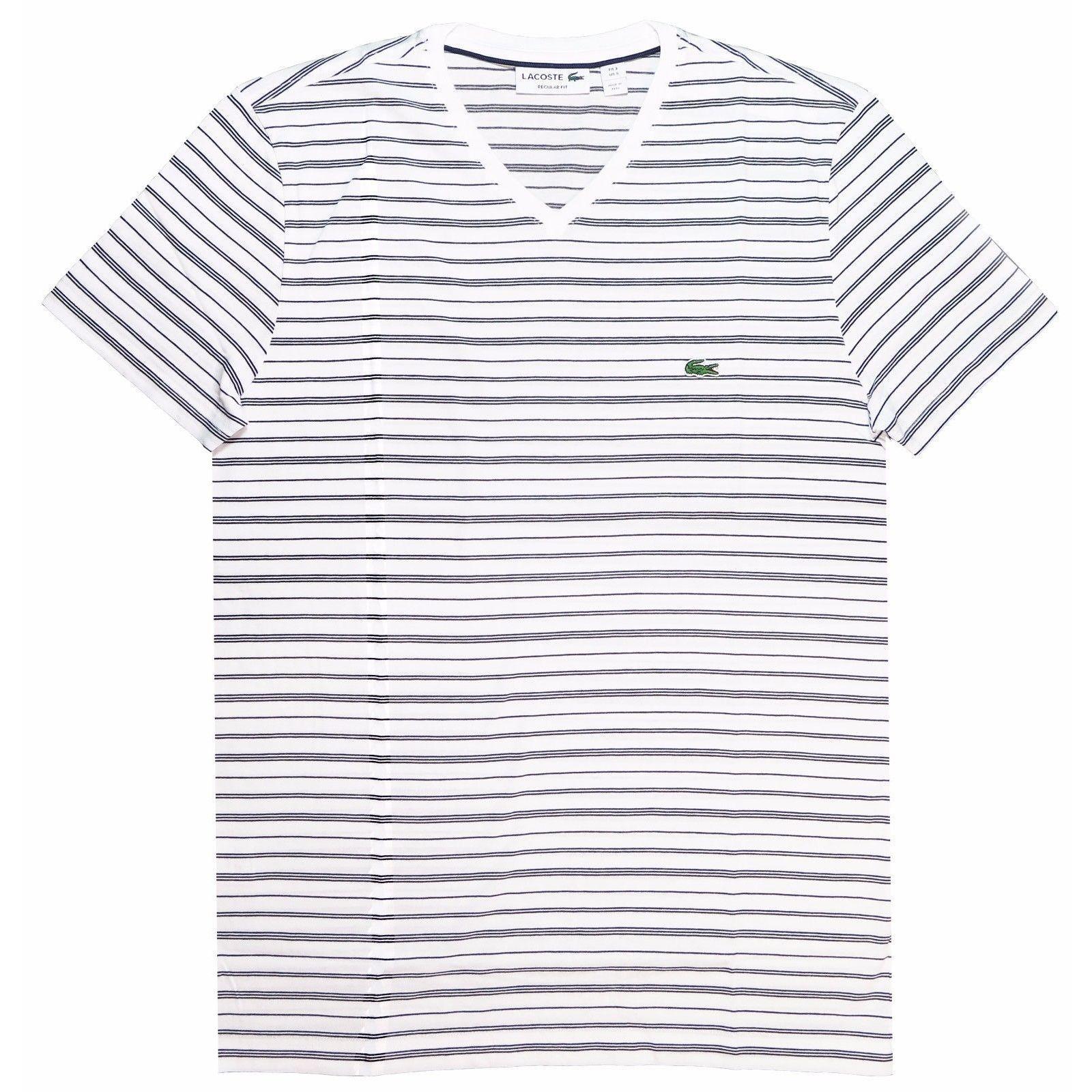 Lacoste Men's White Striped T-shirt (L)