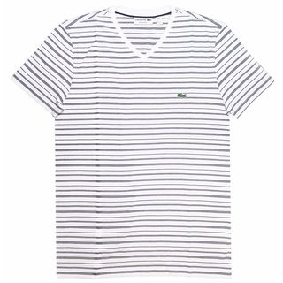 Lacoste Men's White Striped T-shirt