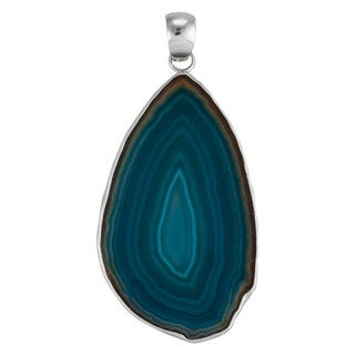 Handmade Sterling Silver Teal Slice Agate Pendant (Mexico)