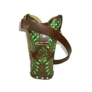 Small Brown and Green Cowboy Boot Handbag
