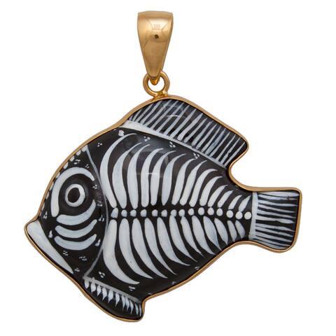 Handmade Alchemia Hand-painted Ceramic Fish Pendant (Mexico)