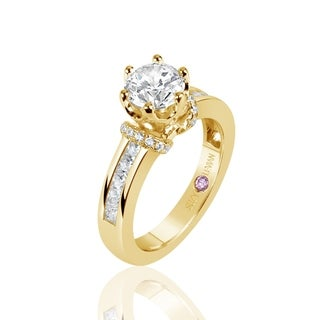 Suzy Levian Golden Sterling Silver Cubic Zirconia Round Cut Engagement Ring - Yellow
