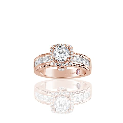 Suzy L. Rose Plated Sterling Silver White Cubic Zirconia French Channel Set Engagement Ring - Pink