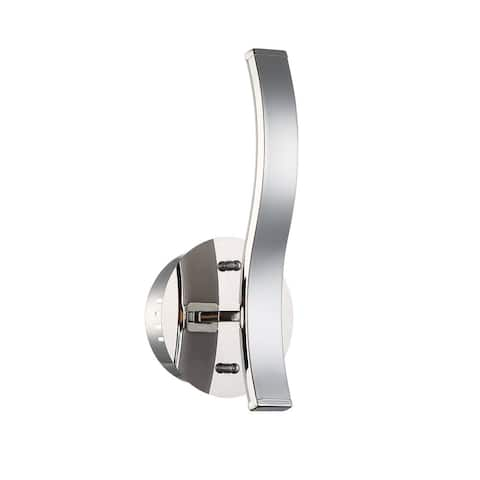 Wave Series 12-inch LED Chrome Wall Sconce with Outward Light Direction