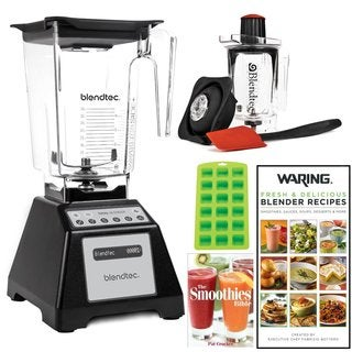 Blendtec Total Blender with WildSide Jar (Black) + Blendtec Twister Jar + 2 Blender Recipe Books and