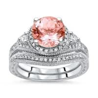 Noori 14k White Gold 1 3/5ct TGW Round-cut Morganite Diamond Engagement Ring Bridal Set (H-I, I1-I2)