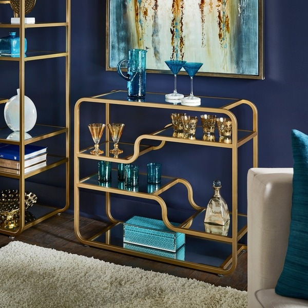 Giana Champagne Gold Mirrored Shelves Bar by iNSPIRE Q Bold