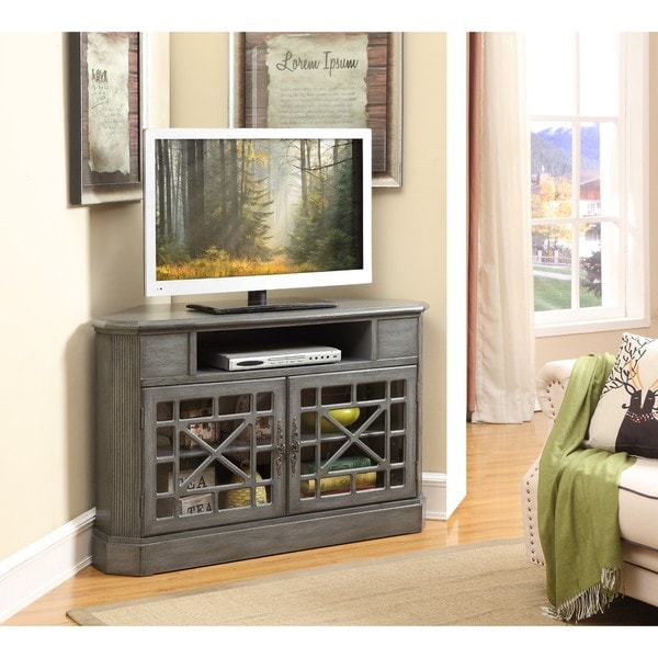 Shop Joplin Texture Grey Two Door Corner Media Cabinet Free Shipping Today Overstock 15651110