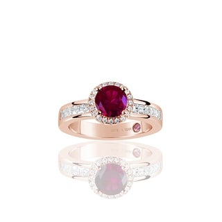 Suzy Levian Rose Sterling Silver Created Ruby Round Cut Engagement Ring